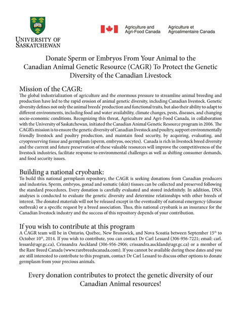 Donate Sperm or Embryos From Your Animal to the Canadian Animal Genetic Resource (CAGR) To Protect the Genetic Diversity of the Canadian Livestock